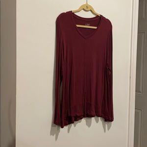 LOGO  maroon shirt long sleeves scoop neck